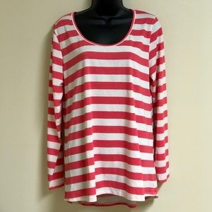 Lula Roe Long Sleeve Striped Hot Pink & White Top